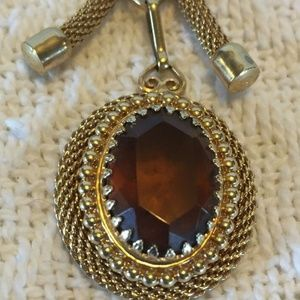 Beautiful Vintage Amber Jeweled Necklace With Gold
